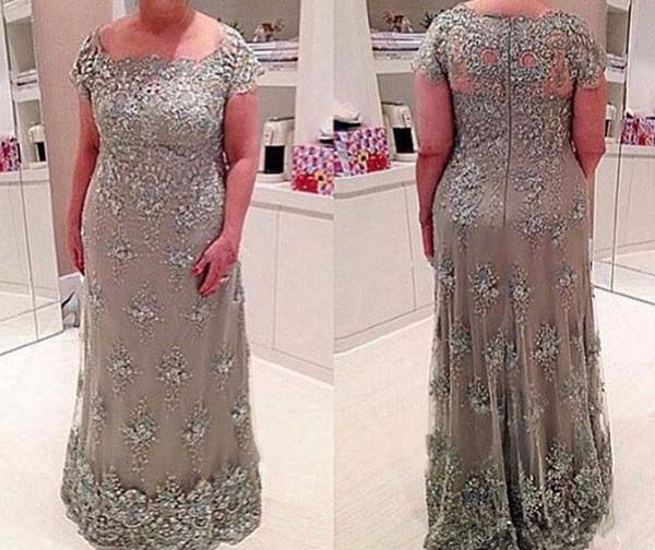 Plus Size 2019 Mother Of The Bride Dresses A-line Cap Sleeves Tulle Appliques Beaded Groom Mother Dresses For Weddings