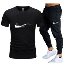 Men's Casual Tracksuit Summer Clothes Sportswear Two Piece Set T Shirt Brand Track Clothing Male Sweatsuit Sports Suits