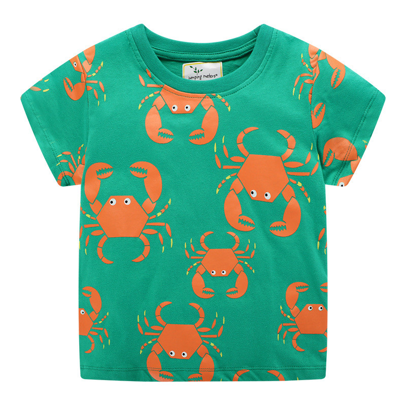H68c6f13526e24dd3b2bae92429d2e0288 Jumping meters Animals Summer Boys Girls T shirts Crabs Printed Cotton Baby Clothes Tees Boys s