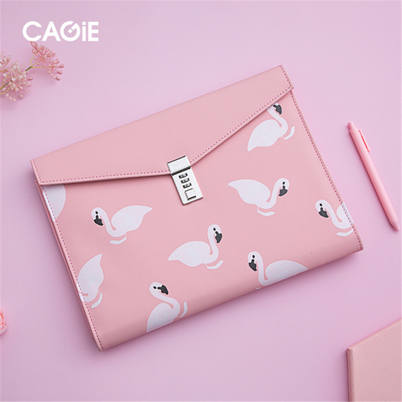 A4 Document File Folder With Lock Padfolio Fichario Password Cute Briefcase Leather Organzier Notebook Handle Office Manager Bag