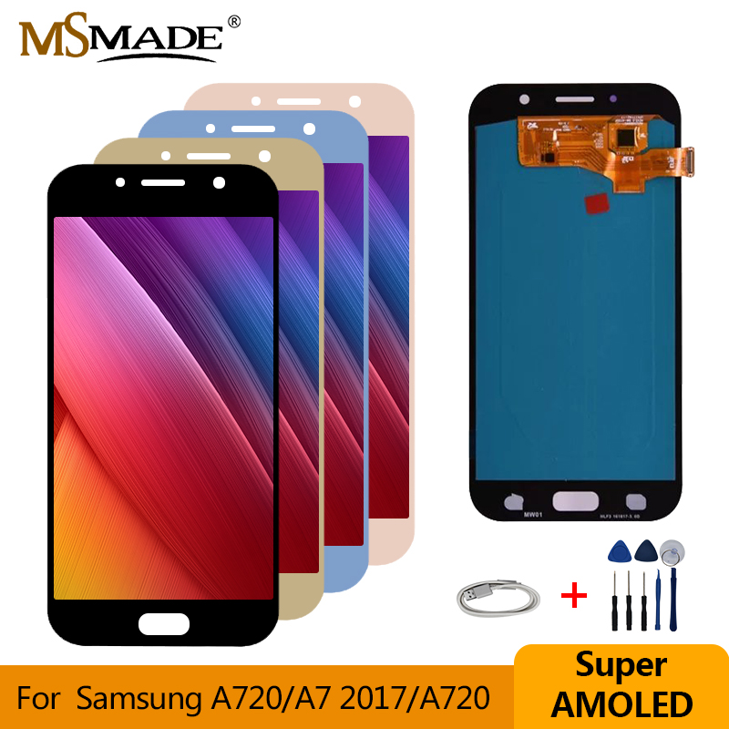 Super AMOLED For <font><b>Samsung</b></font> Galaxy A7 2017 Display A720 <font><b>A720F</b></font> A720M LCD Touch <font><b>Screen</b></font> Digitizer Assembly For <font><b>Samsung</b></font> A720 LCD 5.7