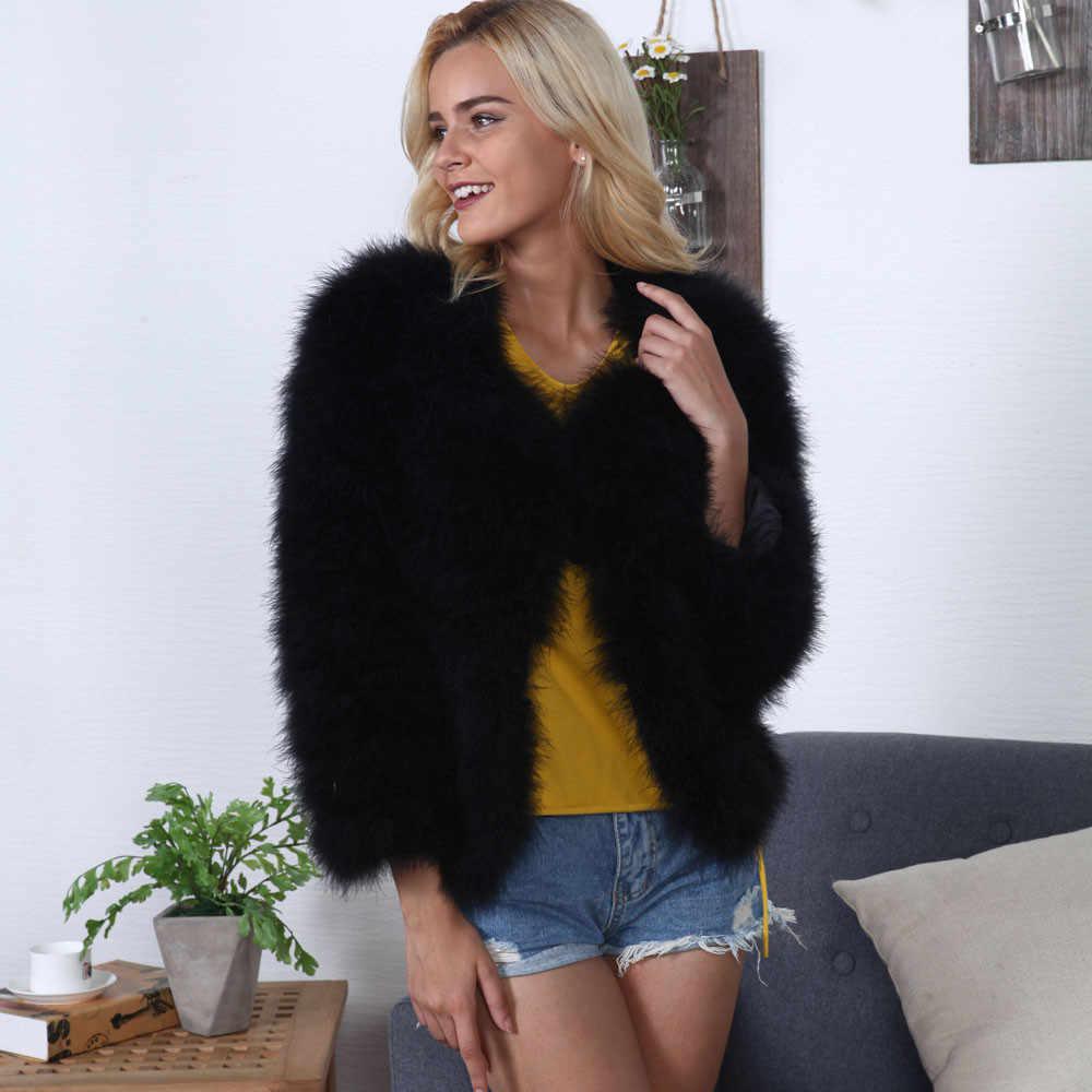 Меховое пальто женское пальто из искусственного меха страусиное перо мягкое меховое пальто куртка пушистое длинное пальто из искусственного меха Меховая куртка кардиган