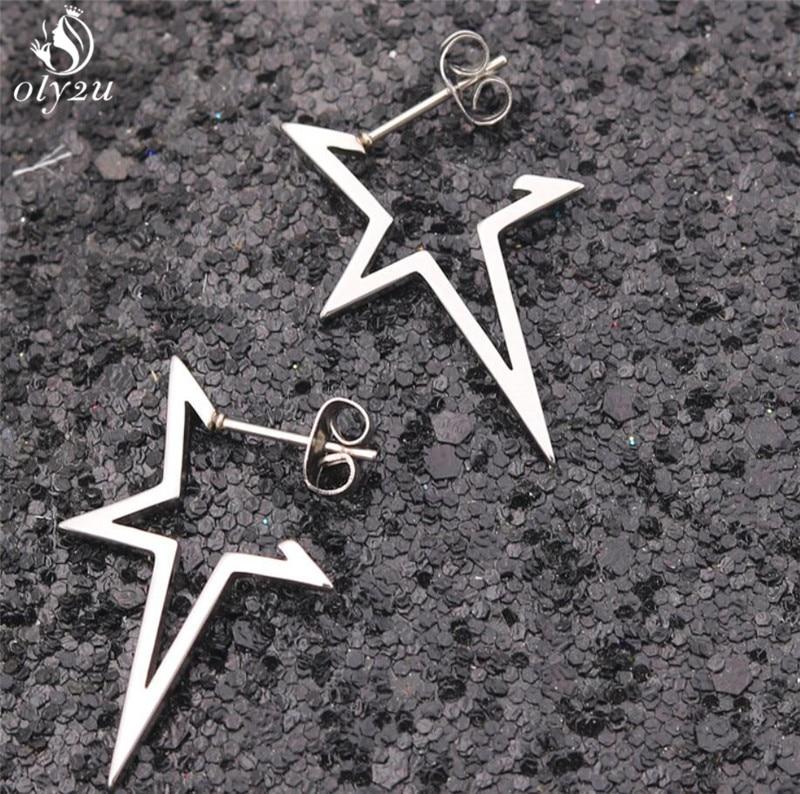 Женские серьги-гвоздики с большой звездой Oly2u, простые серьги из нержавеющей стали, ювелирные изделия, 2019
