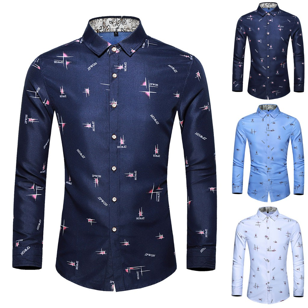 Hawcoar Men's Casual Printing Colorful Slim Long Sleeve M-6XL Shirt Blouse Tops Wholesale Free Ship рубашка мужская Z4