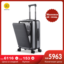 NINETYGO 90FUN Rolling Hardside Carry-ons 20 inch Luggage Opening Cabin Suitcase Spinner Wheel Scratch-proof Adjustable