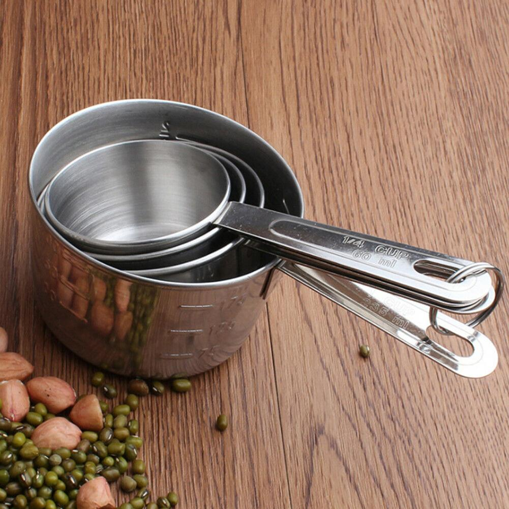 4Pcs Stainless Steel Measuring Cup Spoon Seasoning Scoop Kitchen Cooking Tools 2020 New Arrivals