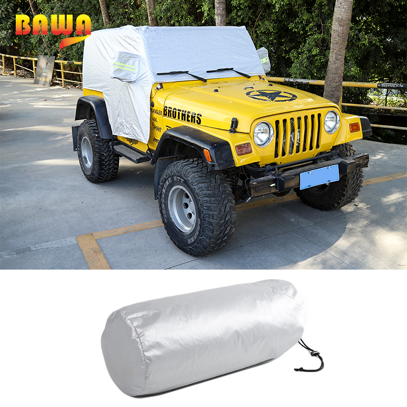BAWA Car Cover Body Sun Rain Dustproof Waterproof Cover Sun UV Protection Shield Accessories For Jeep Wrangler TJ 1997 2006|Car Covers| |  - title=
