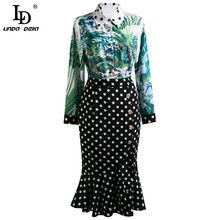 Elegant Summer Fashion Runway Women Dress Polka Dot Bohemian Ladies Pleated Mermaid Midi Dresses Vestoidos