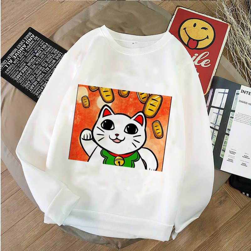 2019 nueva versión coreana de la impresión del gato de la suerte suéter sudadera señoras Harajuku gráficos sudadera Sudadera con capucha invierno