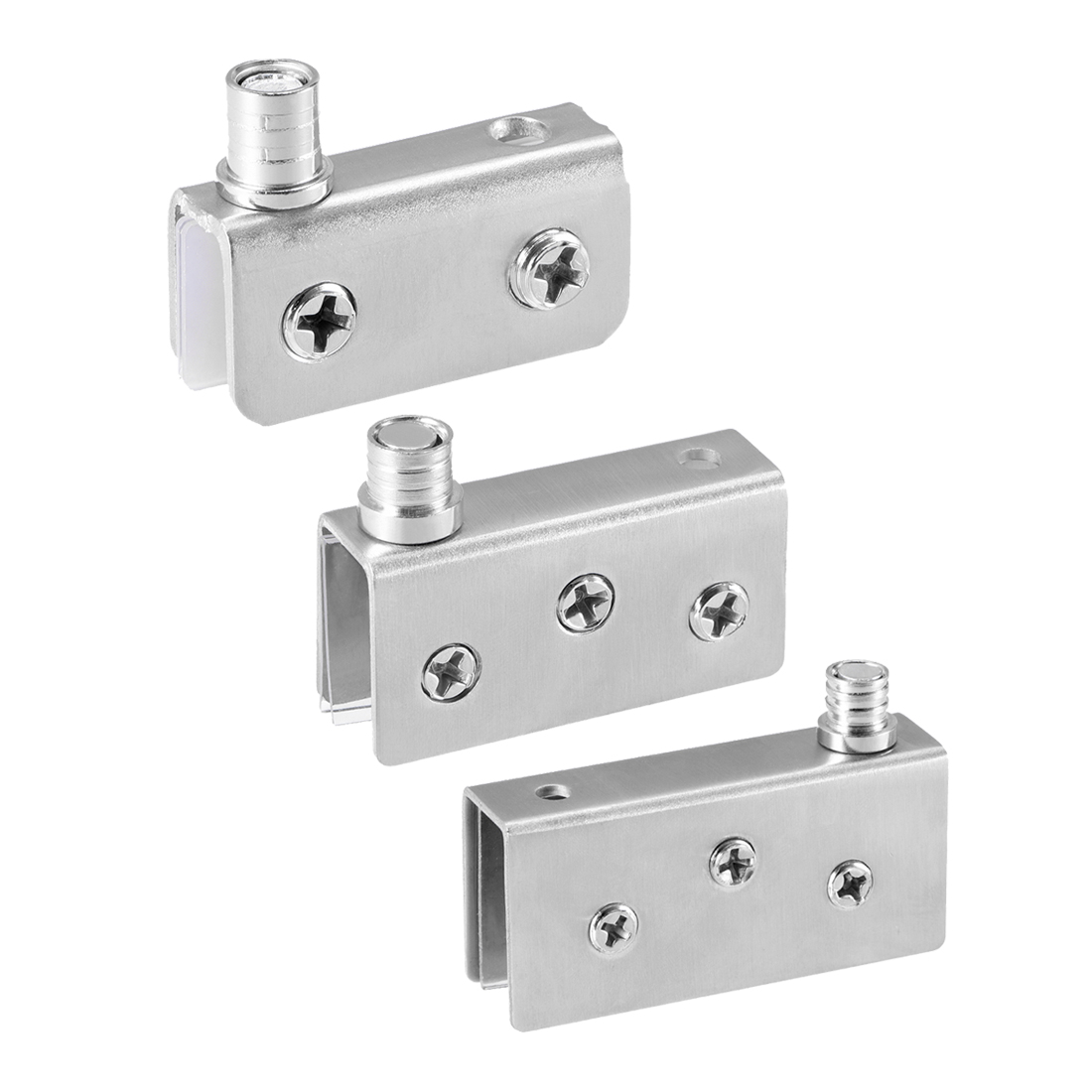 Uxcell Corrosion Resistance Glass Hinge Stainless Steel Glass Door Pivot Hinge Glass Clamp Silver Tone