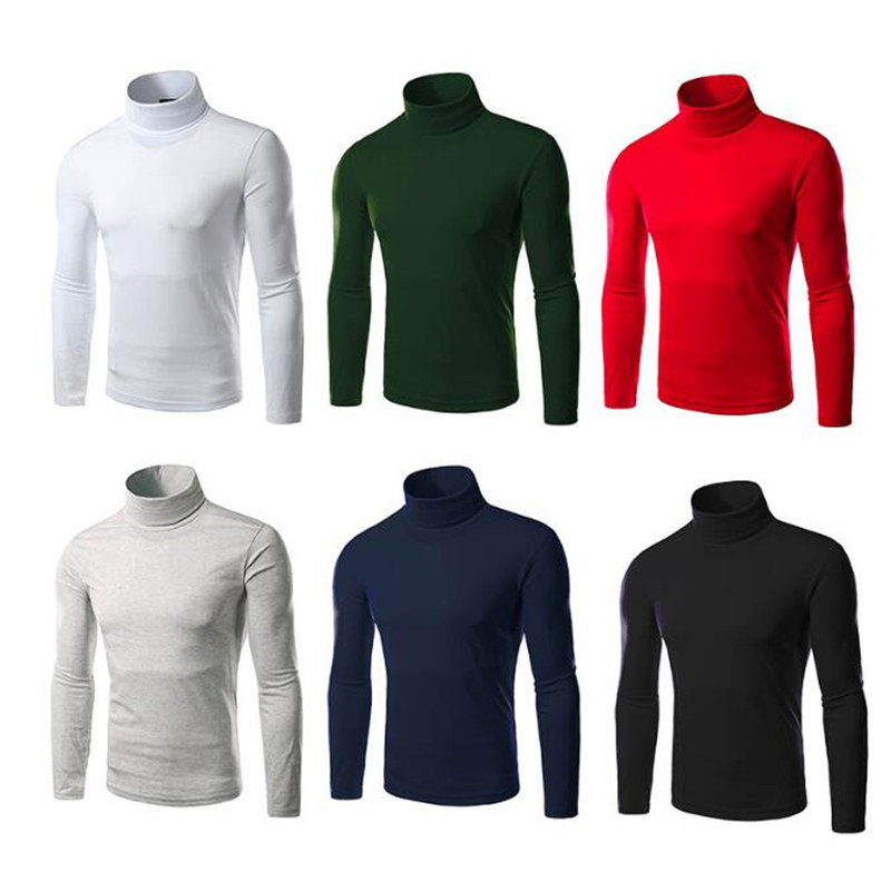 1Pcs Pop Long Sleeve Thermal Slim Cotton Stretch Mens Shirt Fashion Sweaters Turtleneck Casual High Neck Knitwear Pullovers