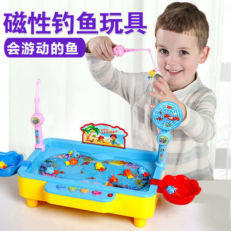 1567 # Children Electric Fishing Toys Can Add Water Fishing Plate Music Story Magnetic Baby