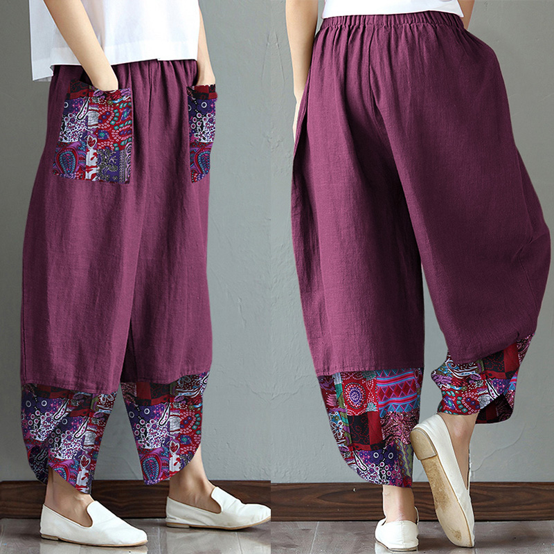 Plus Size Women's Printed Stiching Trousers ZANZEA Vintage Wide Leg Pants Casual Pantalon Palazzo Female Floral Summer Turnip