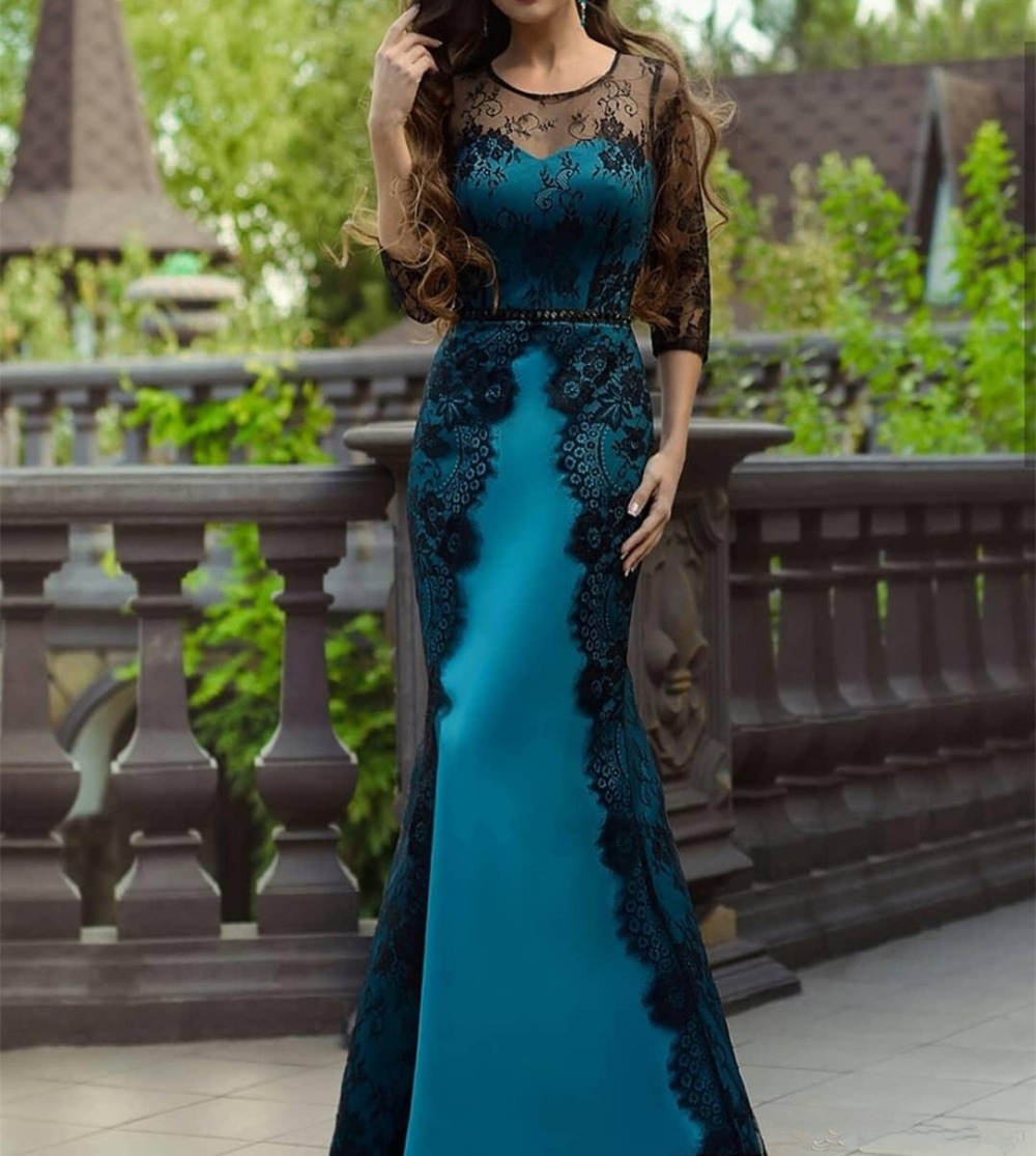 Plus Size 3/4 Sleeves New Blue Mother Of The Bride Dresses Long Elegant Lace Scoop Mermaid Lace Full-Length Lace-Up Formal Gown