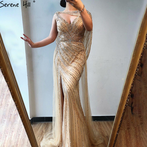 Image 2 - Serene Hill Sexy Champagne V neck Luxury Evening Dress 2020 Diamond Beading Sleeveless Mermaid Formal Party Gown CLA70301