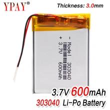 цена на 1/2/4Pcs 303040 lithium polymer battery Rechargeable Li-ion Battery 3.7V 600mAh With PCM For GPS MP3 MP4 MP5 PDA LED Light