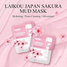 LAIKOU 7pcs Japan Sakura Mud Face Mask Anti Wrinkle Night Facial Packs Skin Clean Dark Circle Moisturize Anti-Aging Skin Care