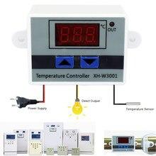 Controlador de temperatura digital led, controlador de temperatura digital XH-W3001 para incubadora refrigeração interruptor de aquecimento termostato sensor ntc 10a 12v 24v 220vac