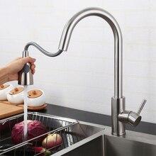 Вытяжные Кухонные смесители с 2 режимами распыления, с высокой дугой, смесители для раковины ванной комнаты, вытяжной распылитель, Керамический клапан, матовый никель