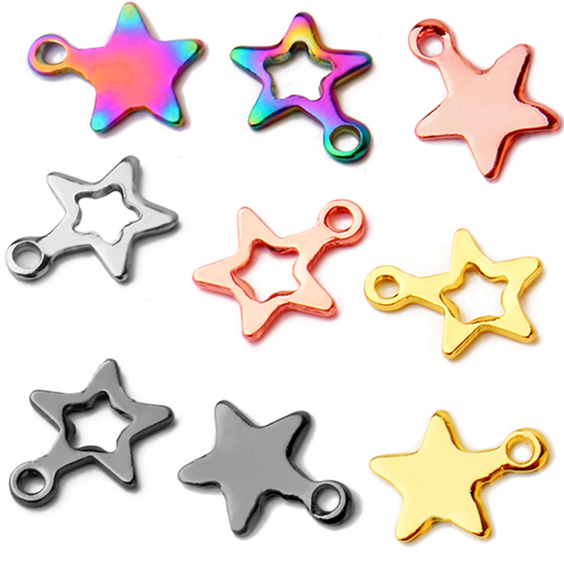 50pcs/lot 2019 Best Selling Stainless Steel Stars Small Pendant Jewelry Making Men Women Accessories Wholesale
