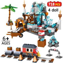 718pcs My World Minecraftingly Crystal Cave Building Blocks Compatible with Legoinglys and Figures Brick Toys For Children Gift(China)