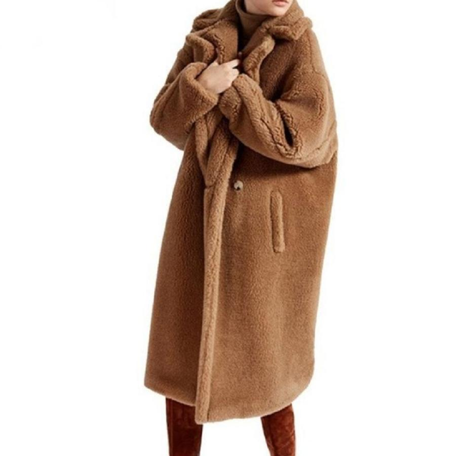 High-end Design 2018 Newest Winter Red Brown Teddy Fur Trench Coat Women Fur Cashmere Overcoat Thick Warm Wool Long Coats L1277