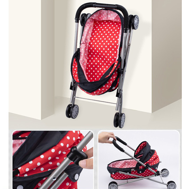 Simulation Foldable Dotted Baby Doll Stroller With Hood Kids Playhouse Toys 5