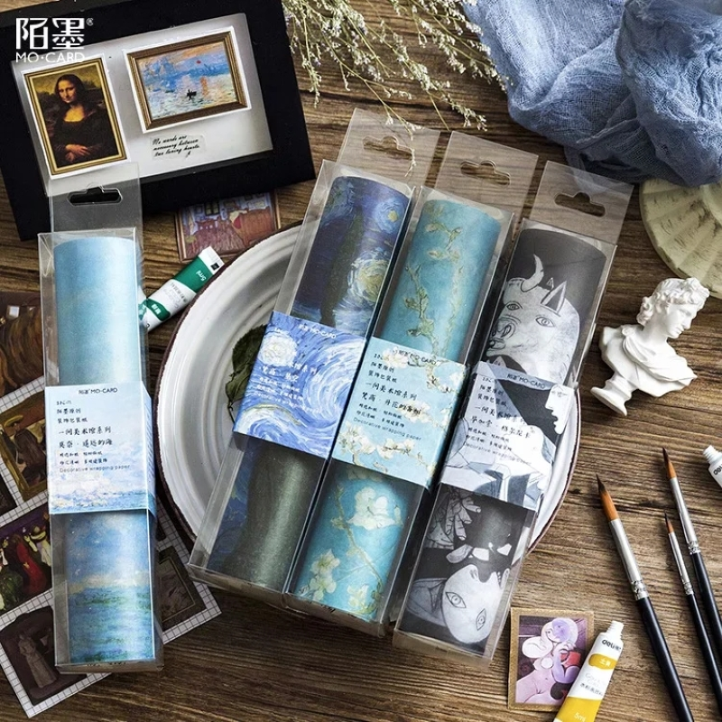20cm Wide Multicolor Van Gogh Monet Scrapbook Decorative Tape  Star Vintage Stationery Handbook Sticker Kraft Paper Gift