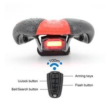 Hot 4 in 1 Bicycle Smart Wireless Rear Light Cycling Remote Control Alarm Lock Mountain Bike Bell COB Tailight MVI-ing недорого