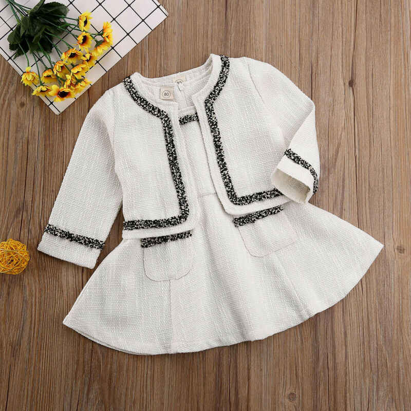 2020 תינוק אביב סתיו בגדי תינוקות ילד תינוקת קנבוס תחרות מעיל + טוטו שמלת המפלגה תלבושת אופנה Elagent בגדים סטים