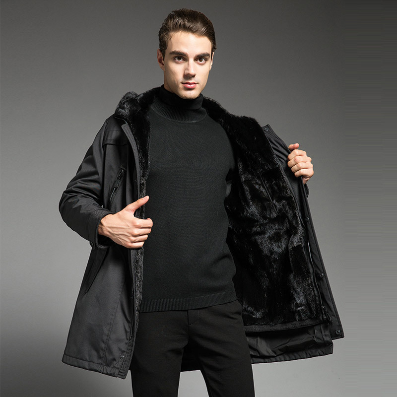 Parka Men Real Fur Coat Natural Minks Fur Liner Warm Winter Jacket Mens Mink Coat Luxury Jackets Parkas 18P615-1 KJ3113