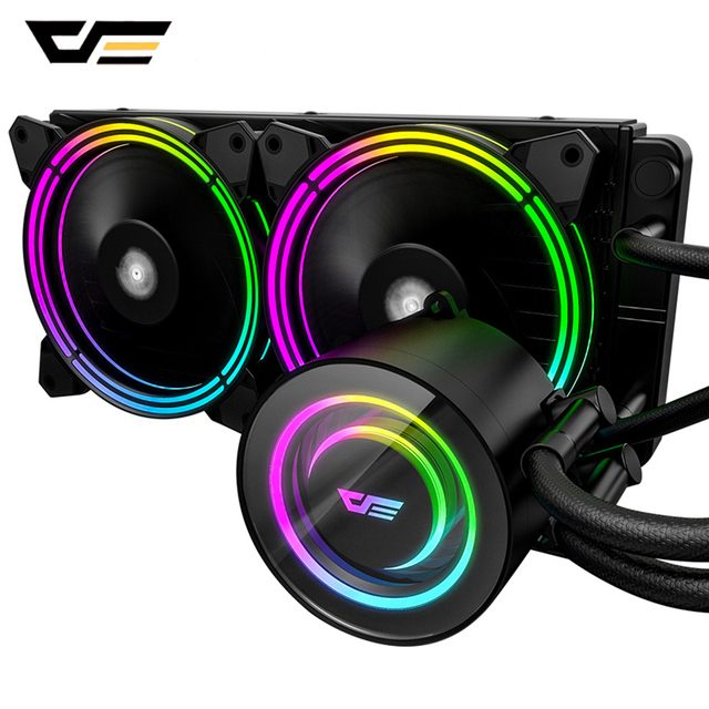 Darkflash-carcasa de PC, Enfriador de agua líquida, AIO, ventilador de enfriamiento PWM RGB, sincronización de agua, CPU para LGA 2011/115X/2066/AM4/AM3 + 1
