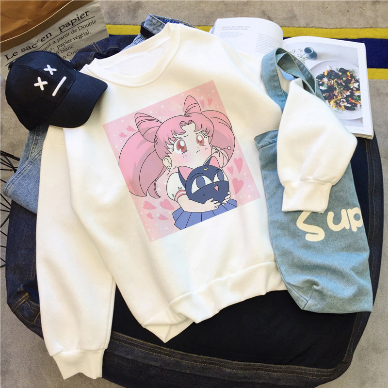 Sailor Moon Tops Sweatshirt Harajuku Hoodies Women Hoodies Women Loose Pullover Casual Kawaii Clothes Sudadera Mujer Толстовка