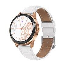 Nova hdt7 pulseira de relógio inteligente feminino 1.09 círculo completo toque personalizado dial pedômetro freqüência cardíaca monitoramento pressão arterial