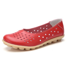 Women Hollow-out Breathable Flat Shoes Casual Leisure Leather Ballet Flats Round Toe Slip on Flats Doug Shoes kids hollow out flats