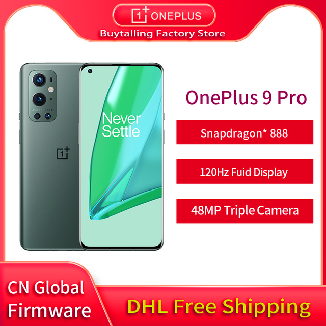 DHL Free Global Firmware Oneplus 9 Pro 5G MobilePhone Snapdragon 888 Octa Core 65W Flash Charge 6.7 inch 120Hz AMOLED Oxygen OS 1