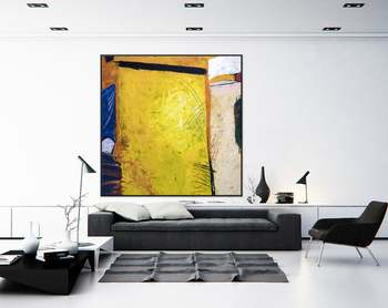 Abstract Painting Large Wall Art Acrylic Canvas Painting Expressionism Yellow Modern Painting Wall Art On Canvas Sunshine