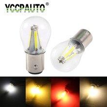 Yccpauto 2 pces 1157 lâmpadas filamet s25 bay15d p21/5w led luzes de estacionamento de freio de carro lâmpada de cauda de vidro 12v-24v
