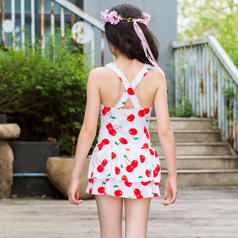 New Style Fruit Printed KID'S Swimwear Korean-style Qmilch One-piece Swimming Suit 6-9-Year-Old Cherry Girls Tour Bathing Suit-
