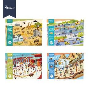 Image 2 - MiDeer חדש לשימוש חוזר מדבקות ספר משחק Pad אוסף צעצועים חינוכיים לילדים פאזל מתנה נשלף רקע סצנות