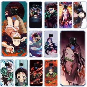 EWAU Anime Demon Slayer Kimetsu no Yaiba Hard Phone Case for Huawei Mate 10 20 30 Pro Nova 2i 3i 3 5i Lite Y5 6 7 9 Prime 2019