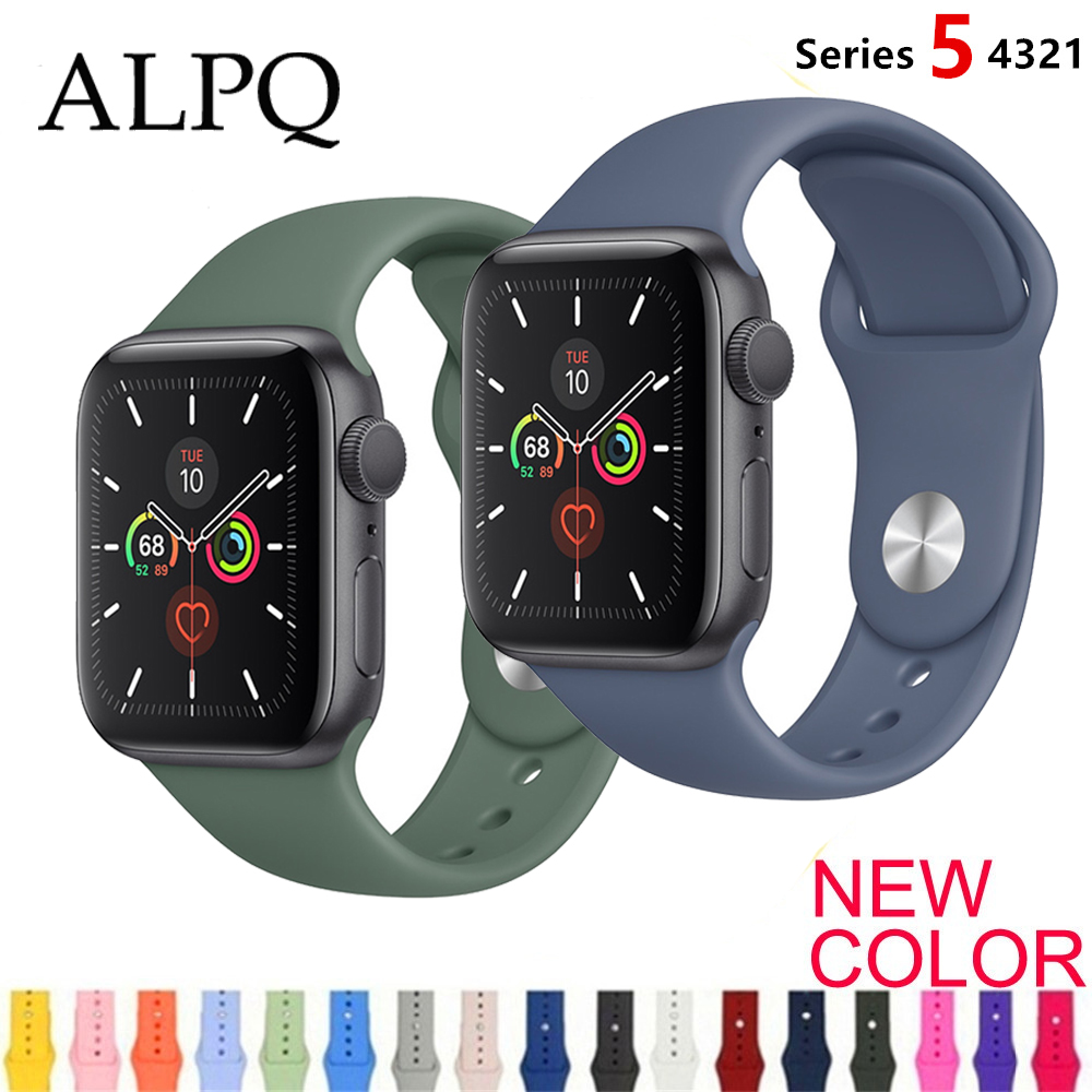 ALPQ Strap For Apple WatchBand 38 42mm 40 44mm Silicone Official Colors Strap Belt Bracelet Correa For IWatch Series 5 4 3 2 1