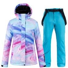 30 красочный женский зимний костюм одежда 10K водонепроницаемый ветрозащитный лыжный костюм комплект Сноубординг лыжные куртки и зимние штаны для женщин