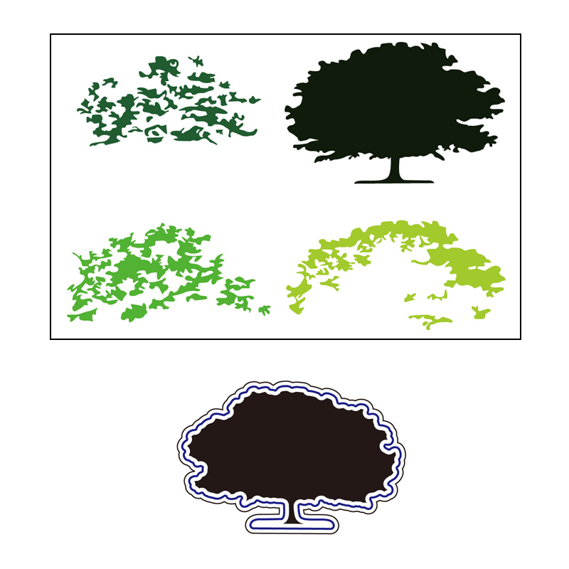 AZSG Lush Tree Leaves Cutting Dies Clear Stamps For DIY Scrapbooking Card Making Decorative Silicone Stamp Craft in Cutting Dies from Home Garden
