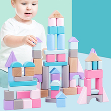 лучшая цена Colorful Wood Building Blocks Baby Color Cognition Bricks Geometric Shape Assembling Blocks Colorful Beech Wood Box For Children