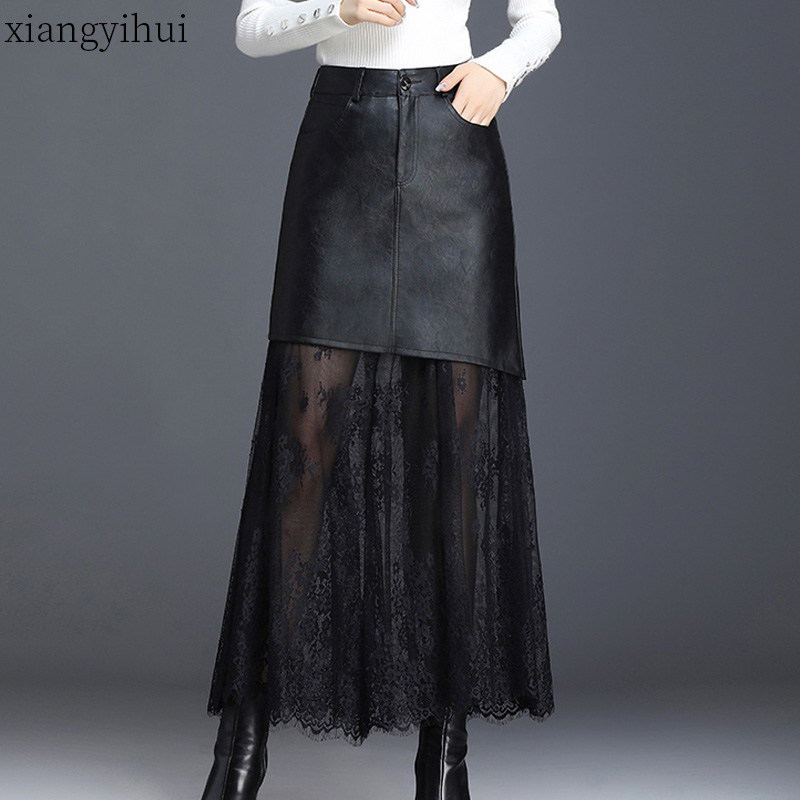 4XL Plus Size Ladies Elegant Skirt Women Office Black Pu Leather Long Skirt Female Lace Patchwork High Waist A-line Tulle 2019