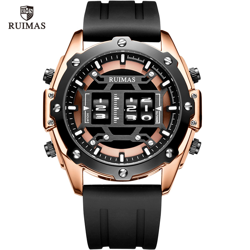 RUIMAS Drum Roller Watches Men Top Brand Luxury Quartz Digital Wristwatch Male Relogio Masculino 2019 New Military Watch Man 553