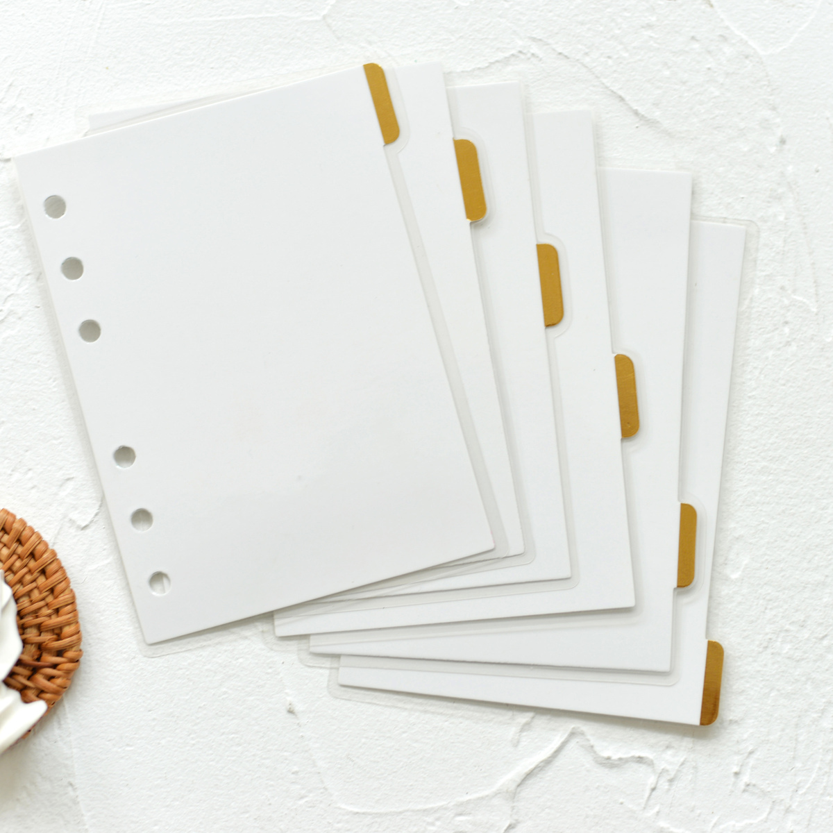 Fromthenon Foil Gold Index Pages Plastic Covered Dividers A5a6a7 Planner Refill Bookmarks for Lovedoki Notebook cute Stationery|Notebooks| |  - title=
