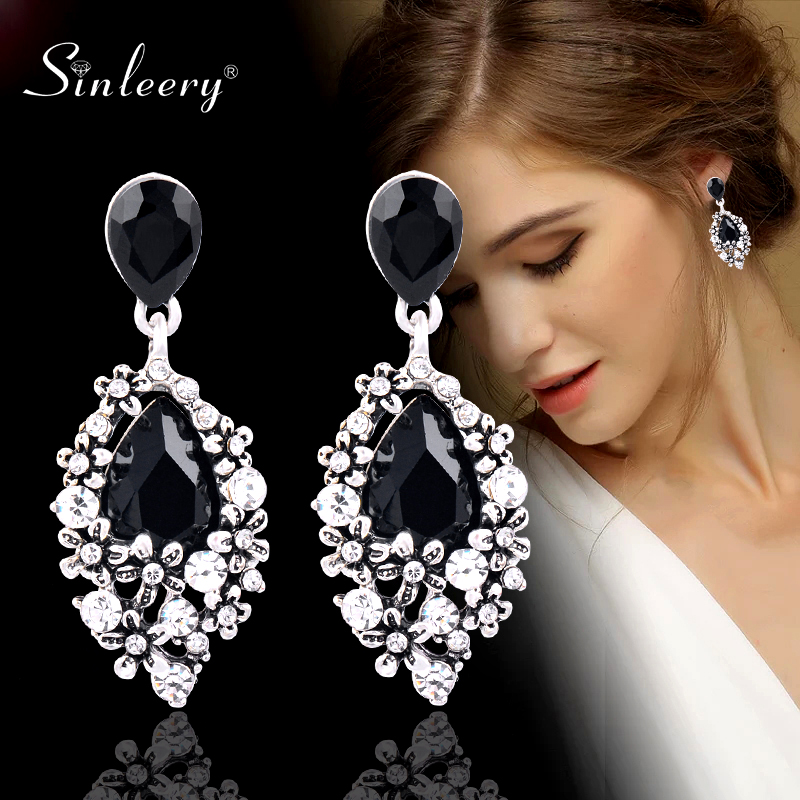 SINLEERY Luxury Vintage Black Cubic Zircon Water Drop Earrings For Women Antique Silver Color New Fashion Es599 SSF