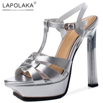 Lapolaka Hot Design 2020 Genuine Cow Leather High Heels Party Shoes Woman Sandals Platform Buckle Strap Summer Sandals Women